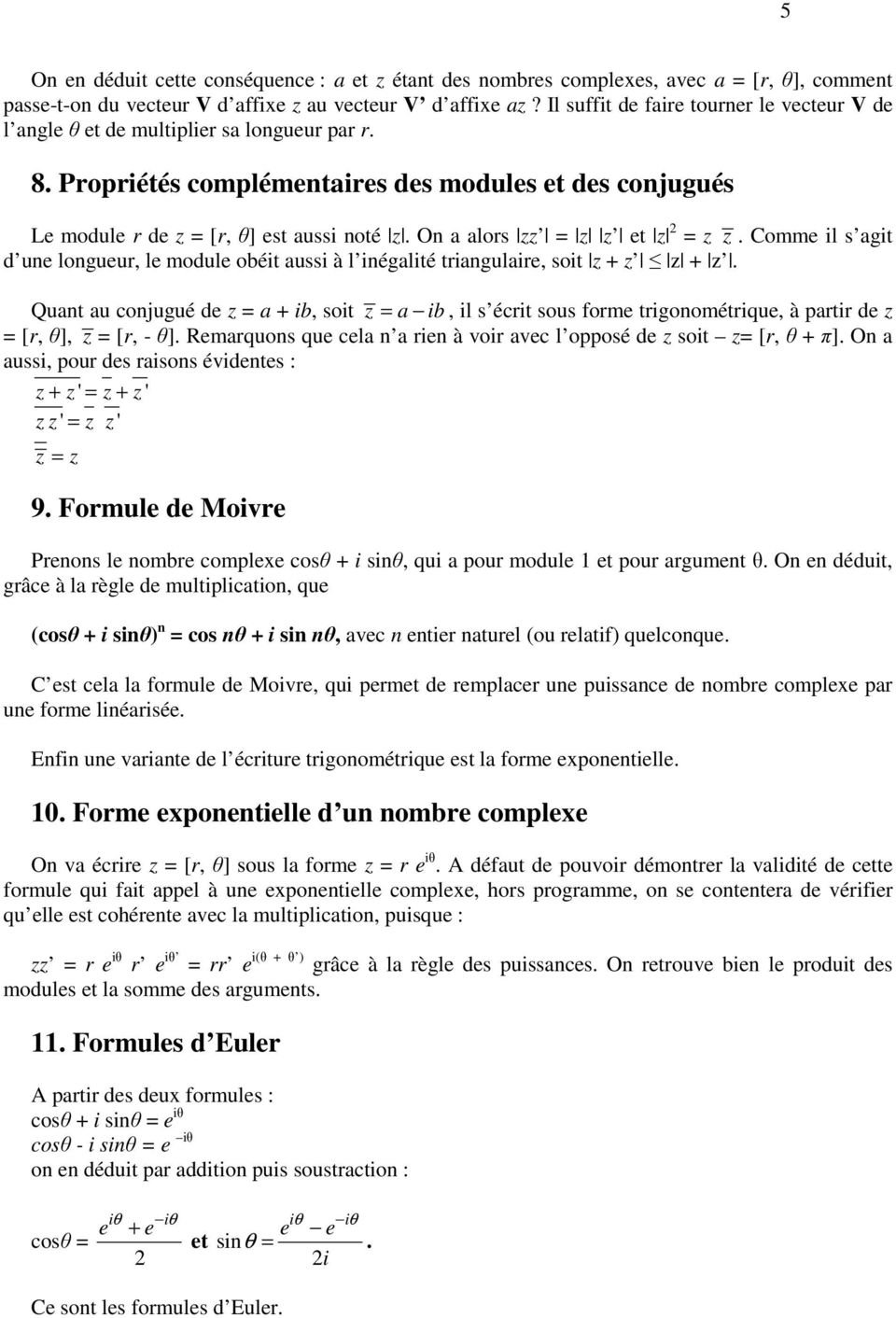 Nombres Complexes Cours Exercices Corriges Programmation Pdf Free Download