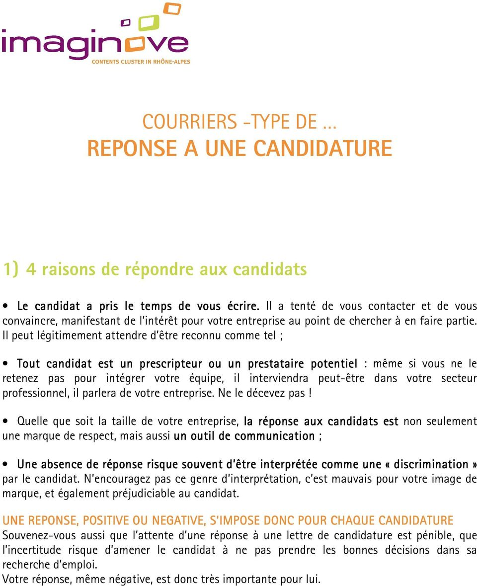 courriers -type de reponse a une candidature