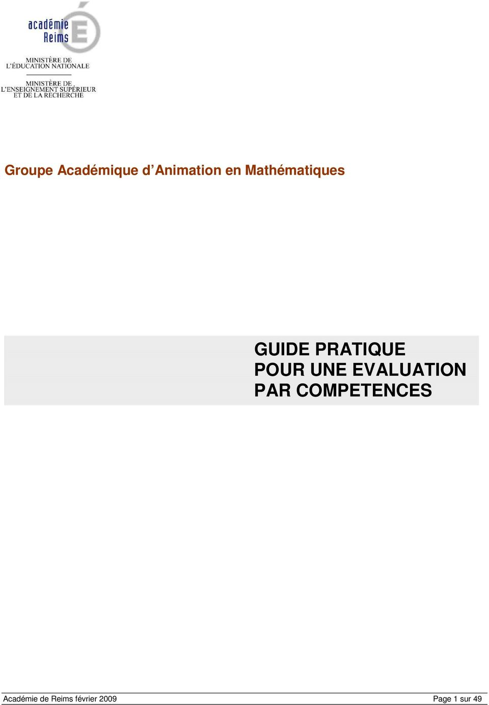 UNE EVALUATION PAR COMPETENCES