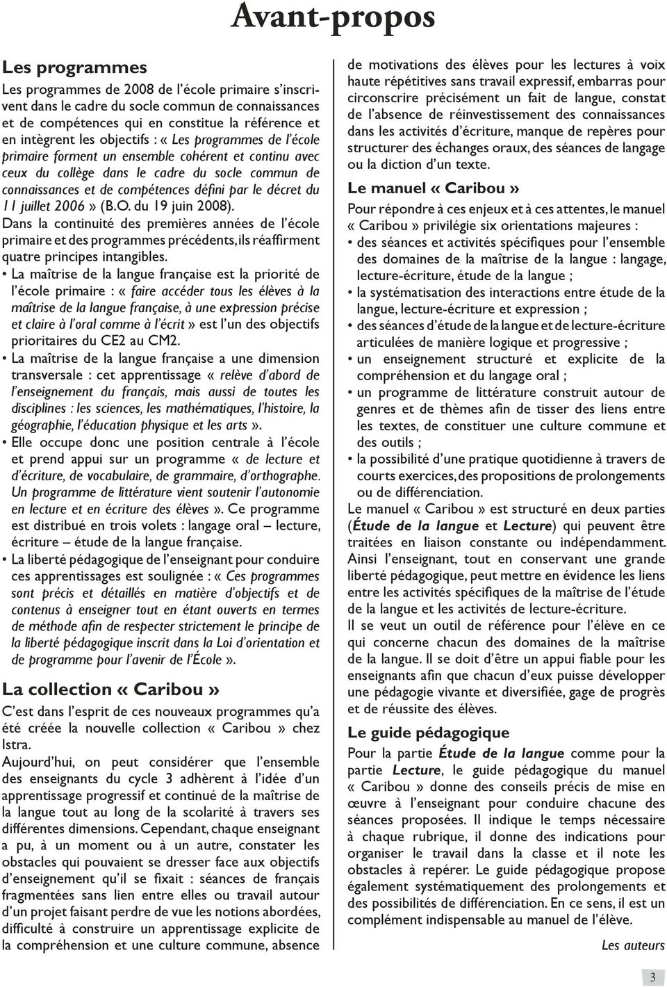 Francais Cm1 Collection Caribou Guide Pedagogique Cycle 3