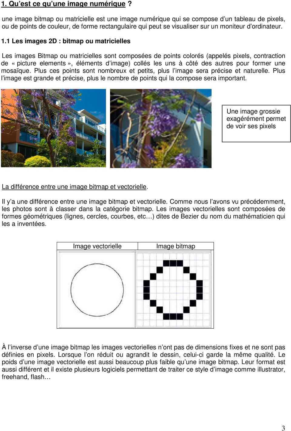 1 Les images 2D : bitmap ou matricielles Les images Bitmap ou matricielles sont composées de points colorés (appelés pixels, contraction de «picture elements», éléments d image) collés les uns à côté