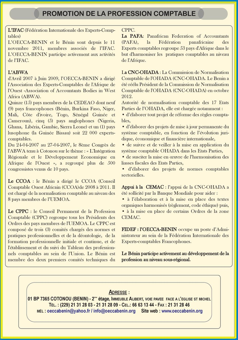 Cabinet d expertise comptable au benin - Stage cabinet expertise comptable ...