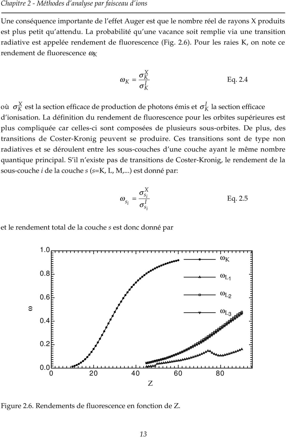Pour les raies K, on note ce rendement de fluorescence ω K ω K σ K X = σ K I Eq. 2.4 X où σ K est la section efficace de production de photons émis et σ I K la section efficace d ionisation.