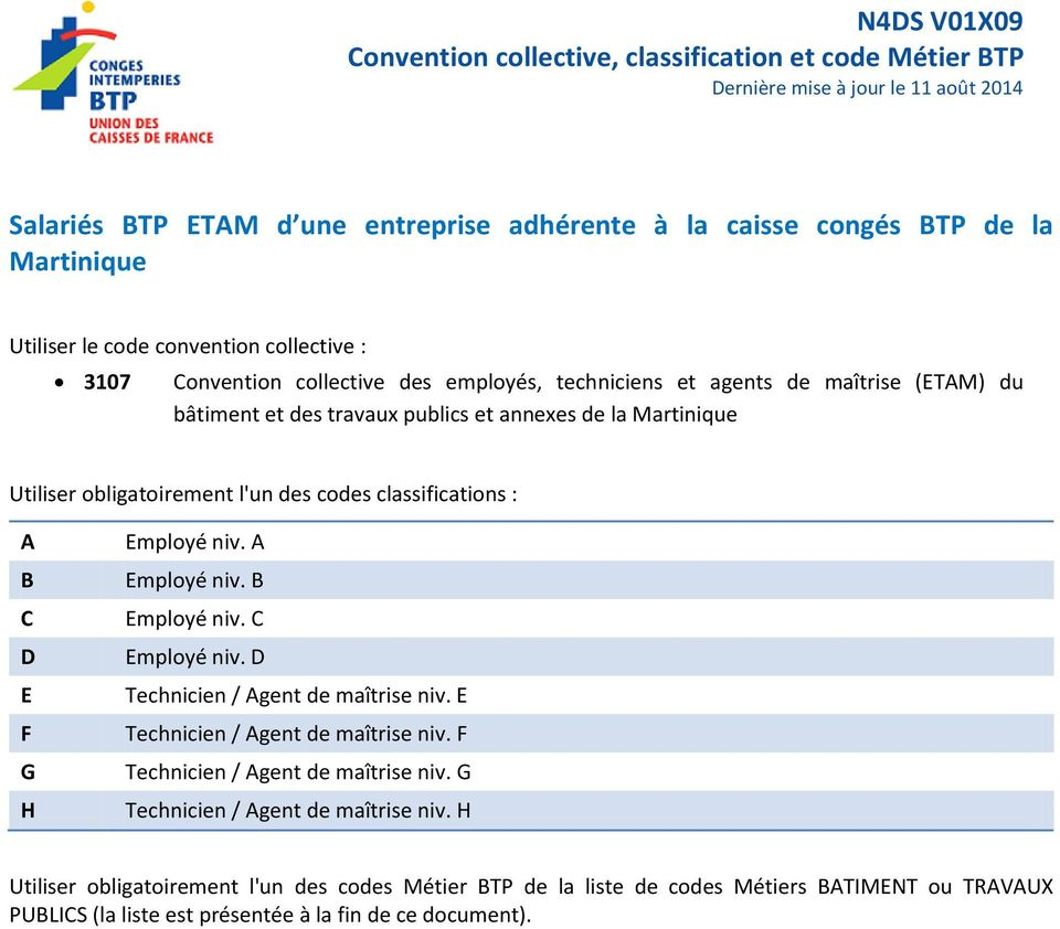 N4ds V01x09 Convention Collective Classification Et Code