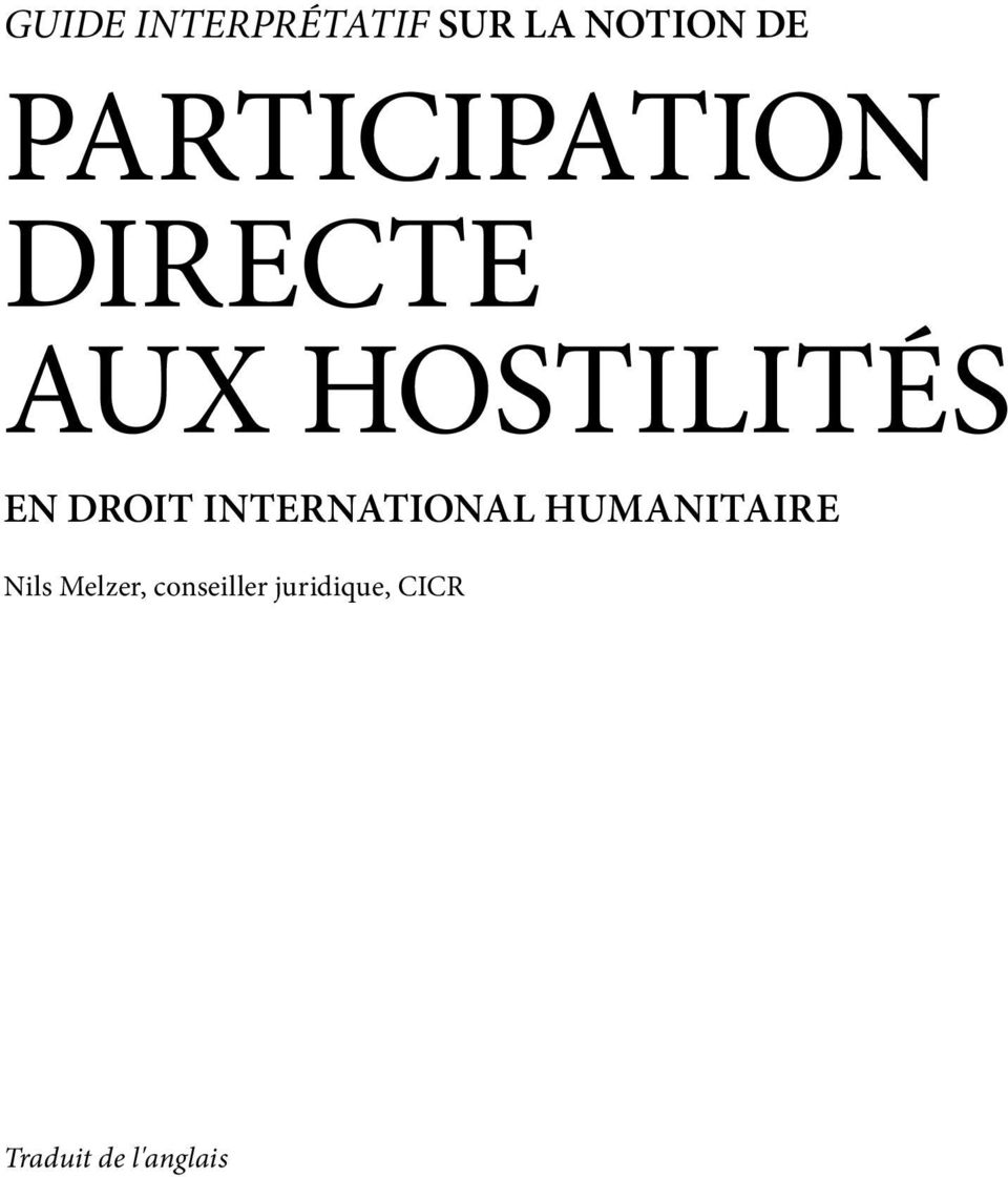 DROIT INTERNATIONAL HUMANITAIRE Nils