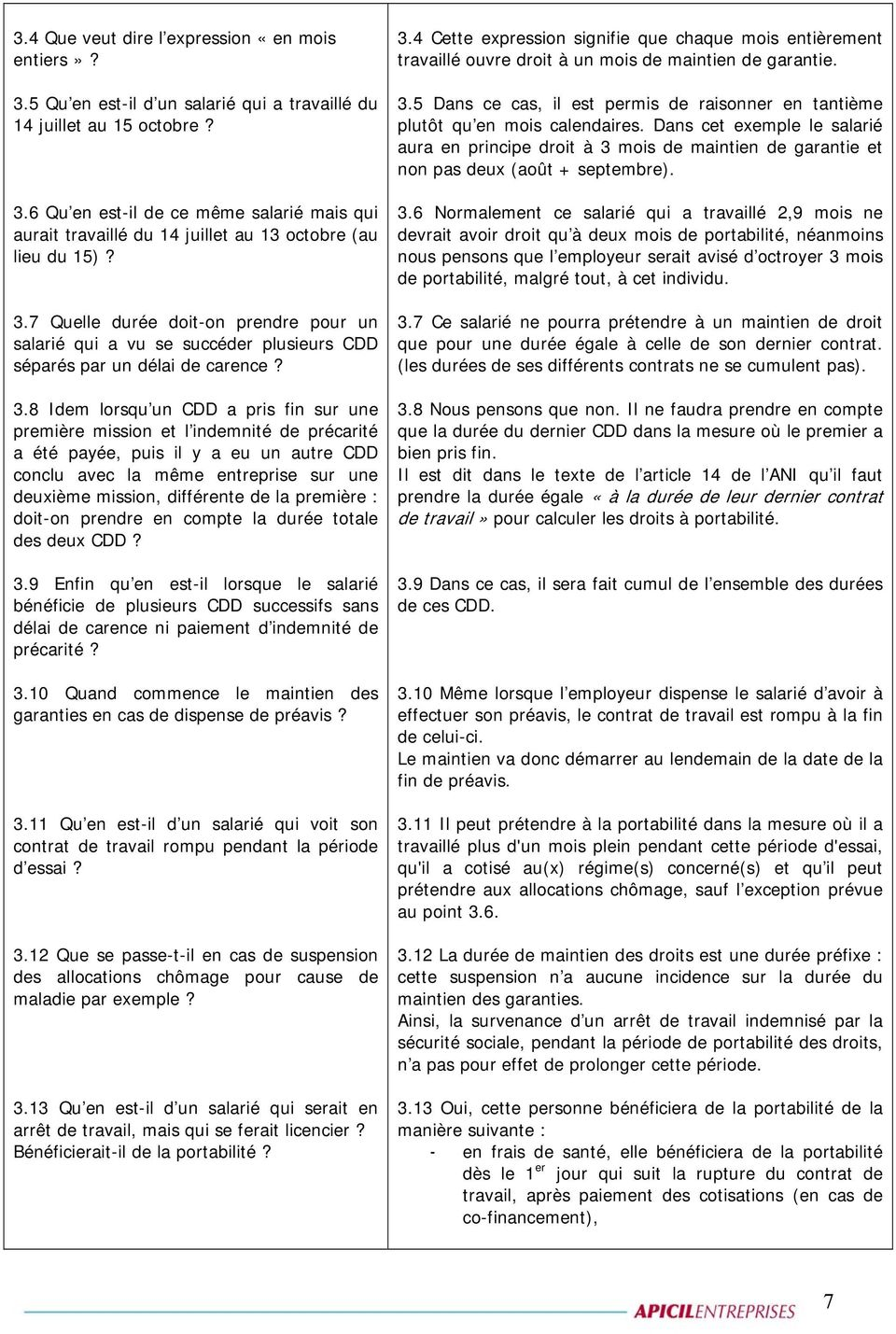 Circulaire Apicil Questions Reponses Synthese Des Questions