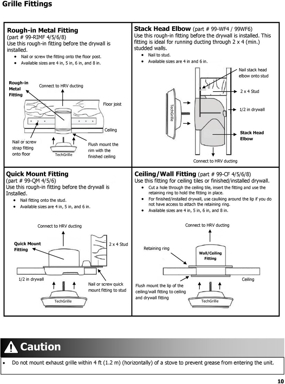 Rnc Series Installation Guide 69 Install Pdf Shr 1 Wiring Diagram Hot Rails Rough In Metal Fitting Connect To Hrv Ducting Floor Joist Stack Head Elbow Part