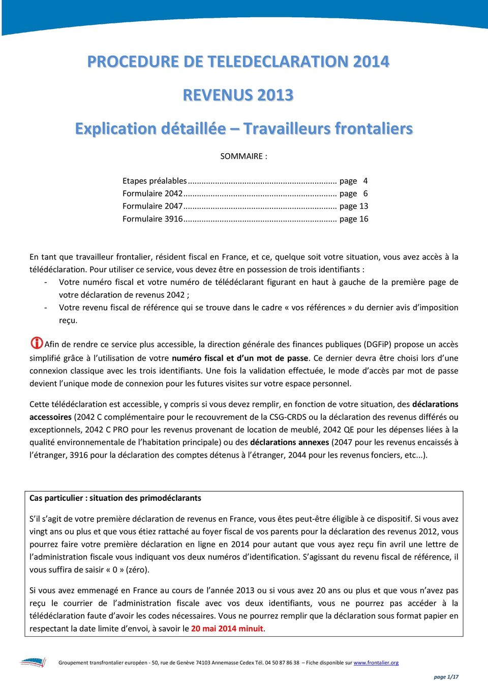 Sommaire Etapes Prealables Page 4 Formulaire Page 6 Formulaire