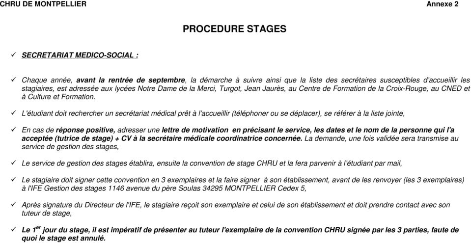 chru de montpellier annexe 2 procedure stages