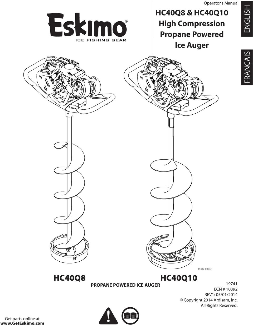 HC40Q8 & HC40Q10 High Compression Propane Powered Ice Auger