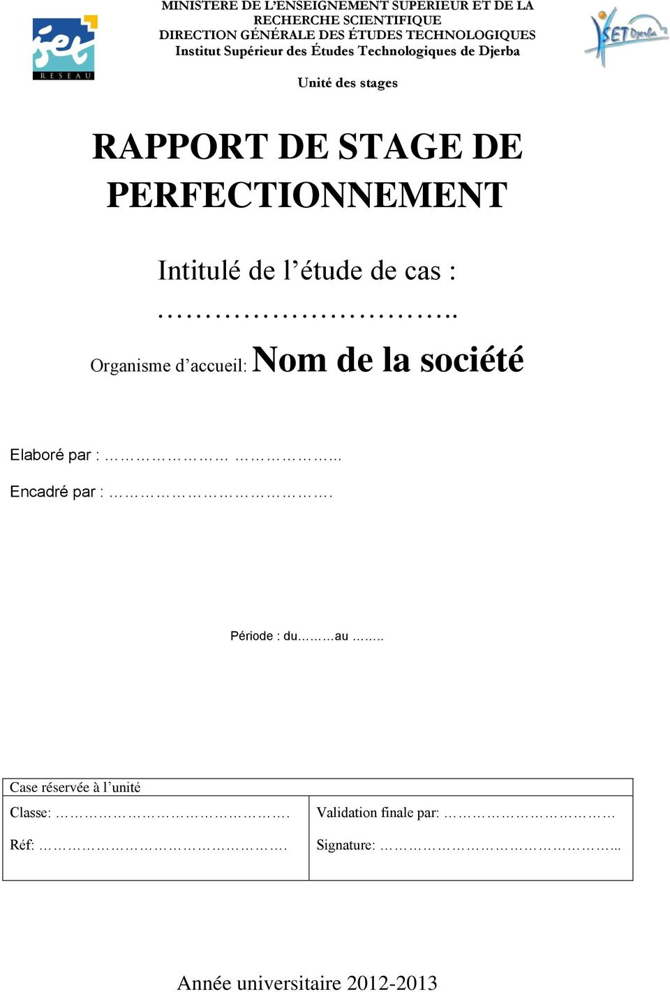 mod u00e8le du rapport  stage perfectionnement