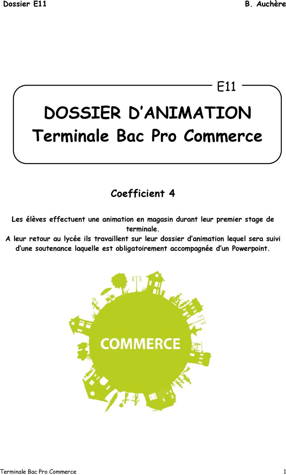 Dossier D Animation Terminale Bac Pro Commerce Pdf Free