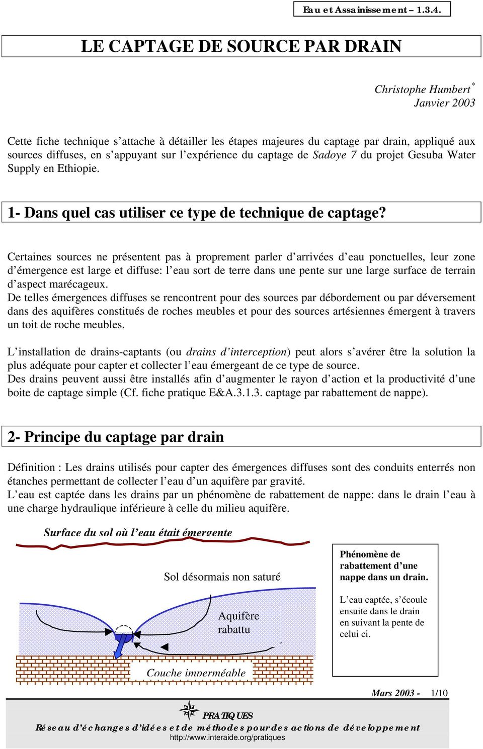 Comment Drainer Un Terrain Marécageux le captage de source par drain - pdf free download