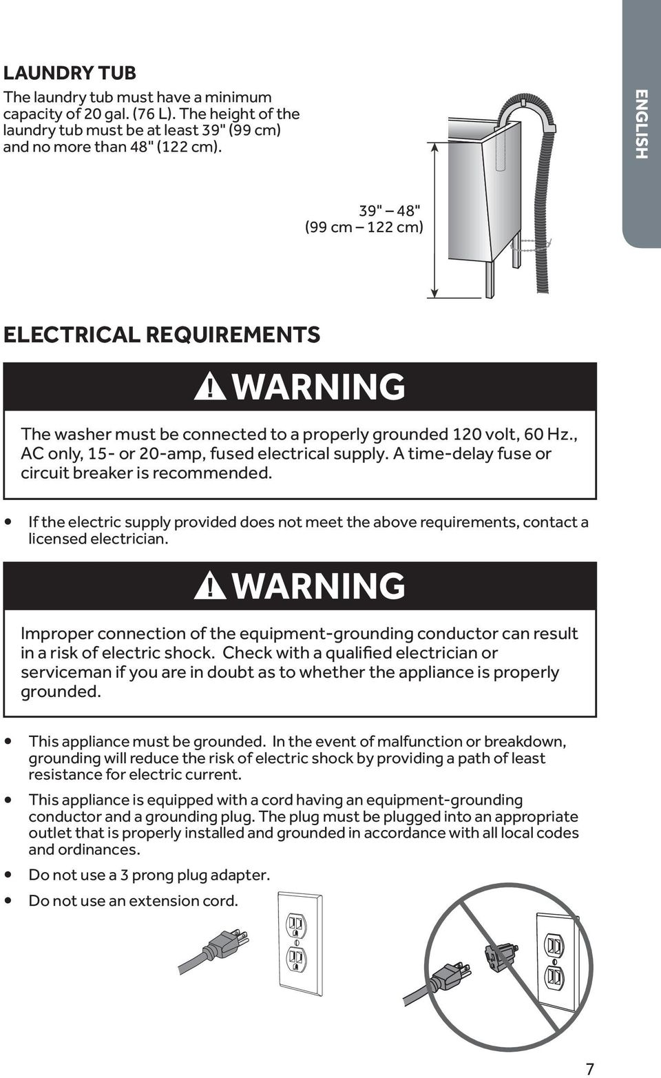 A time-delay fuse or circuit breaker is recommended. If the electric supply provided does not meet the above requirements, contact a licensed electrician.
