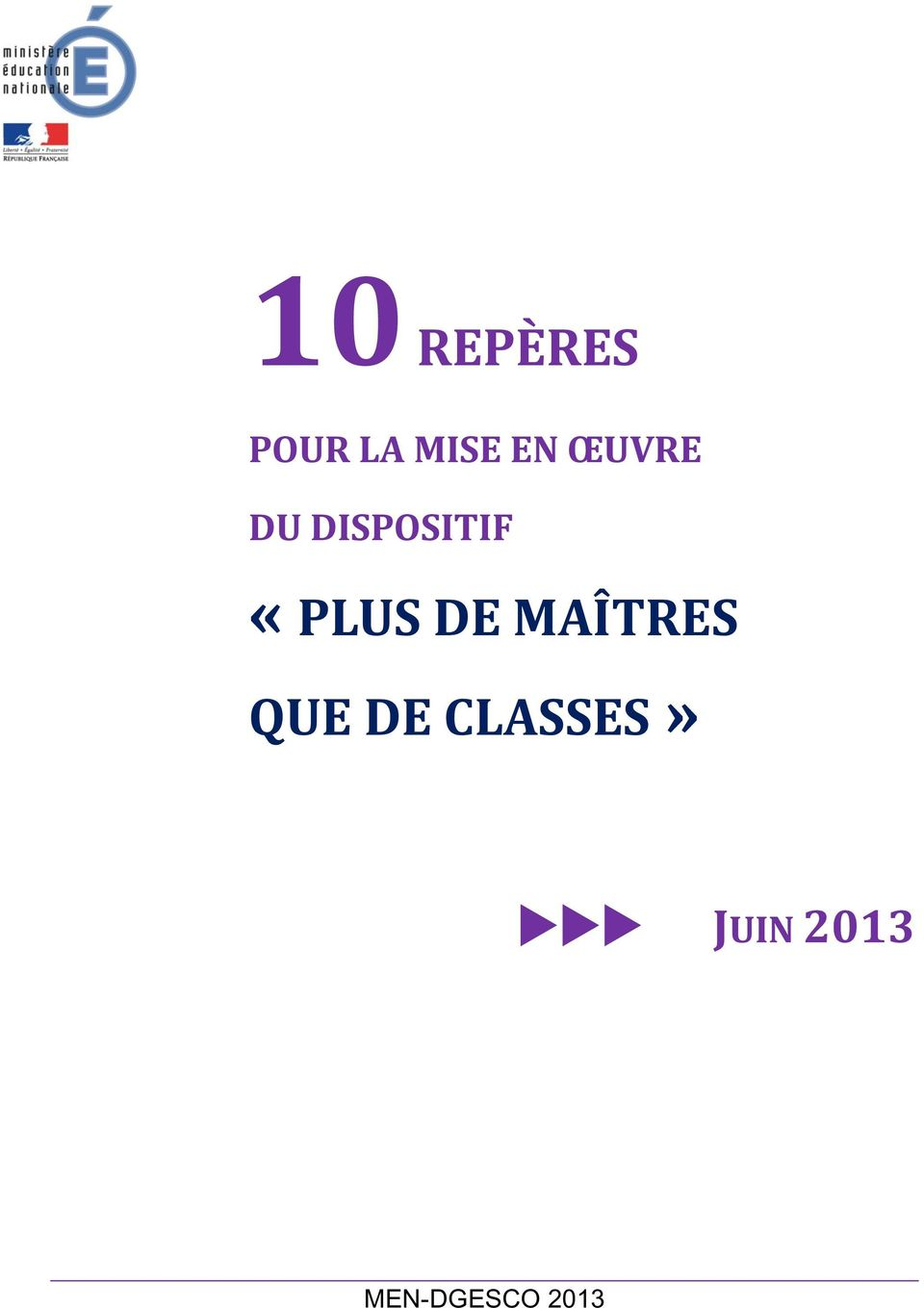 DE MAÎTRES QUE DE CLASSES»