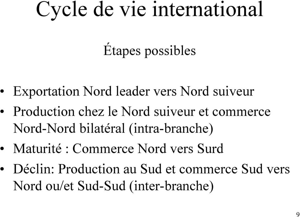 Nord-Nord bilatéral (intra-branche) Maturité : Commerce Nord vers Surd