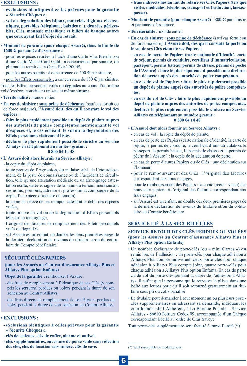 Les Assurances Alliatys Conditions Générales Valant Notice D