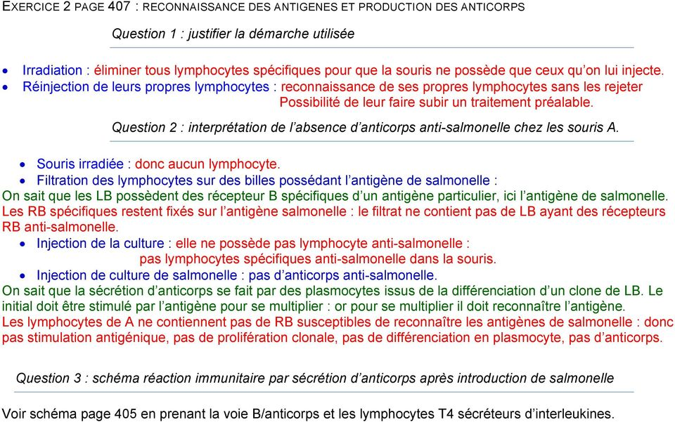 Question 2 : interprétation de l absence d anticorps anti-salmonelle chez les souris A. Souris irradiée : donc aucun lymphocyte.