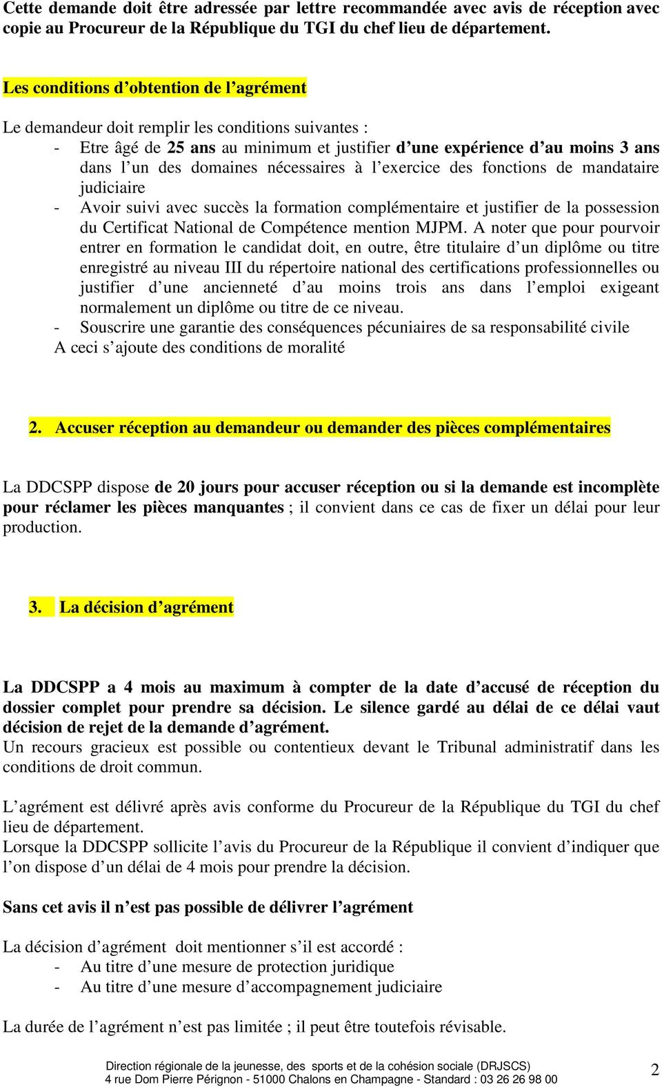 Mjpm Exercant A Titre Individuel Procedure D Agrement Pdf