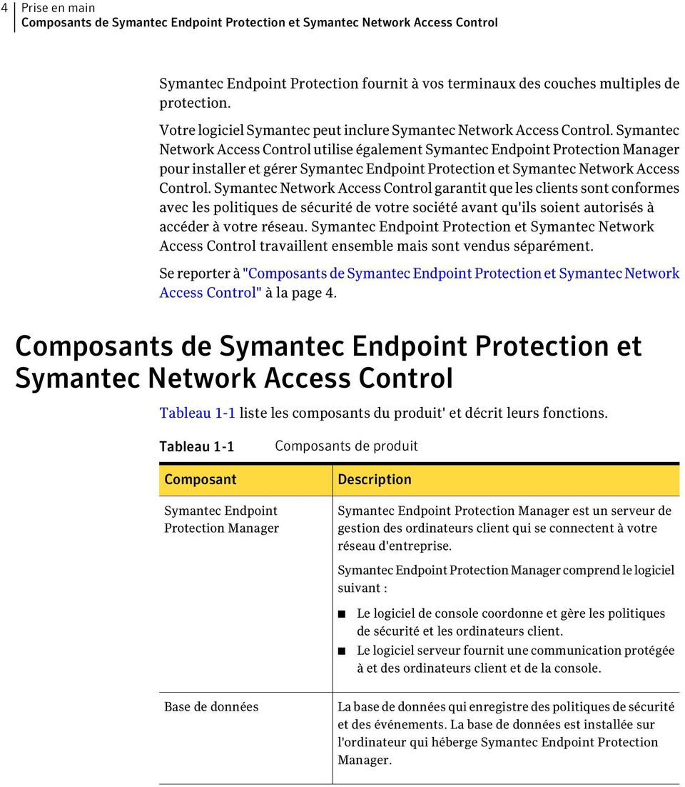 Symantec Network Access Control utilise également Symantec Endpoint Protection Manager pour installer et gérer Symantec Endpoint Protection et Symantec Network Access Control.
