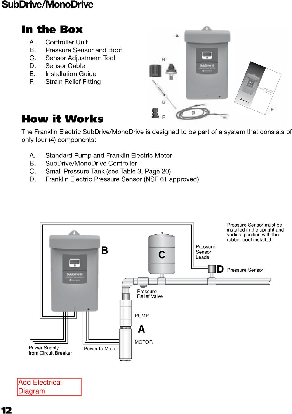 Subdrive15 20 30 Monodrive Monodrivext Nema 3r Owner S Manual Pdf Franklin Electric Fan Motor Wiring Diagrams Only Four 4 Components A Standard Pump And B