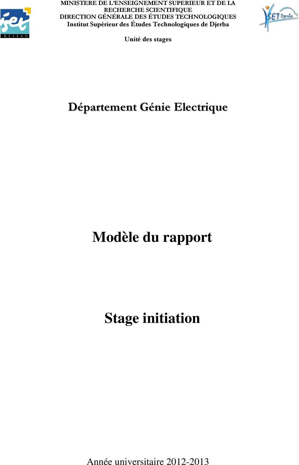 mod u00e8le du rapport  stage initiation