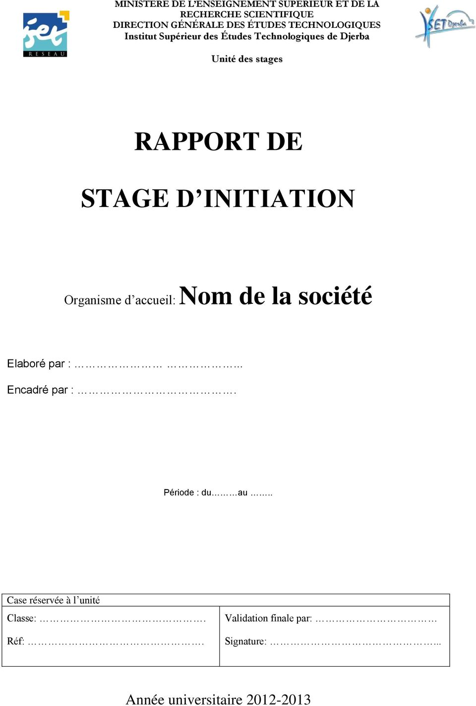 Modèle Du Rapport Stage Initiation Pdf Free Download