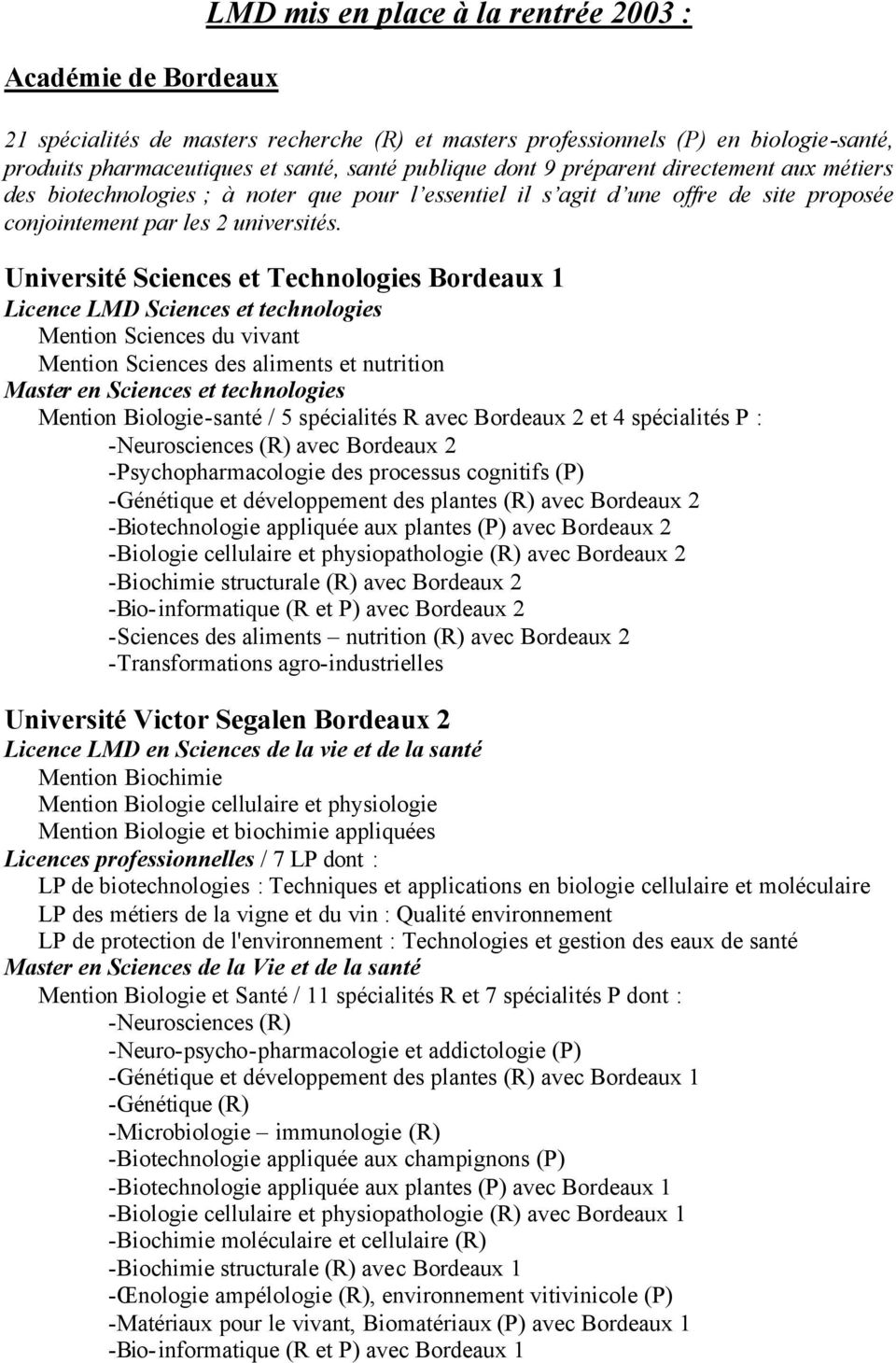 Université Sciences et Technologies Bordeaux 1 Licence LMD Sciences et technologies Mention Sciences du vivant Mention Sciences des aliments et nutrition Master en Sciences et technologies Mention