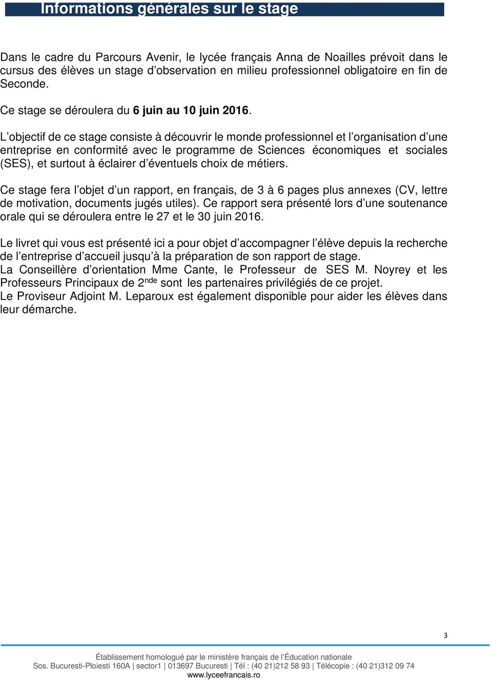 rapport de stage de seconde