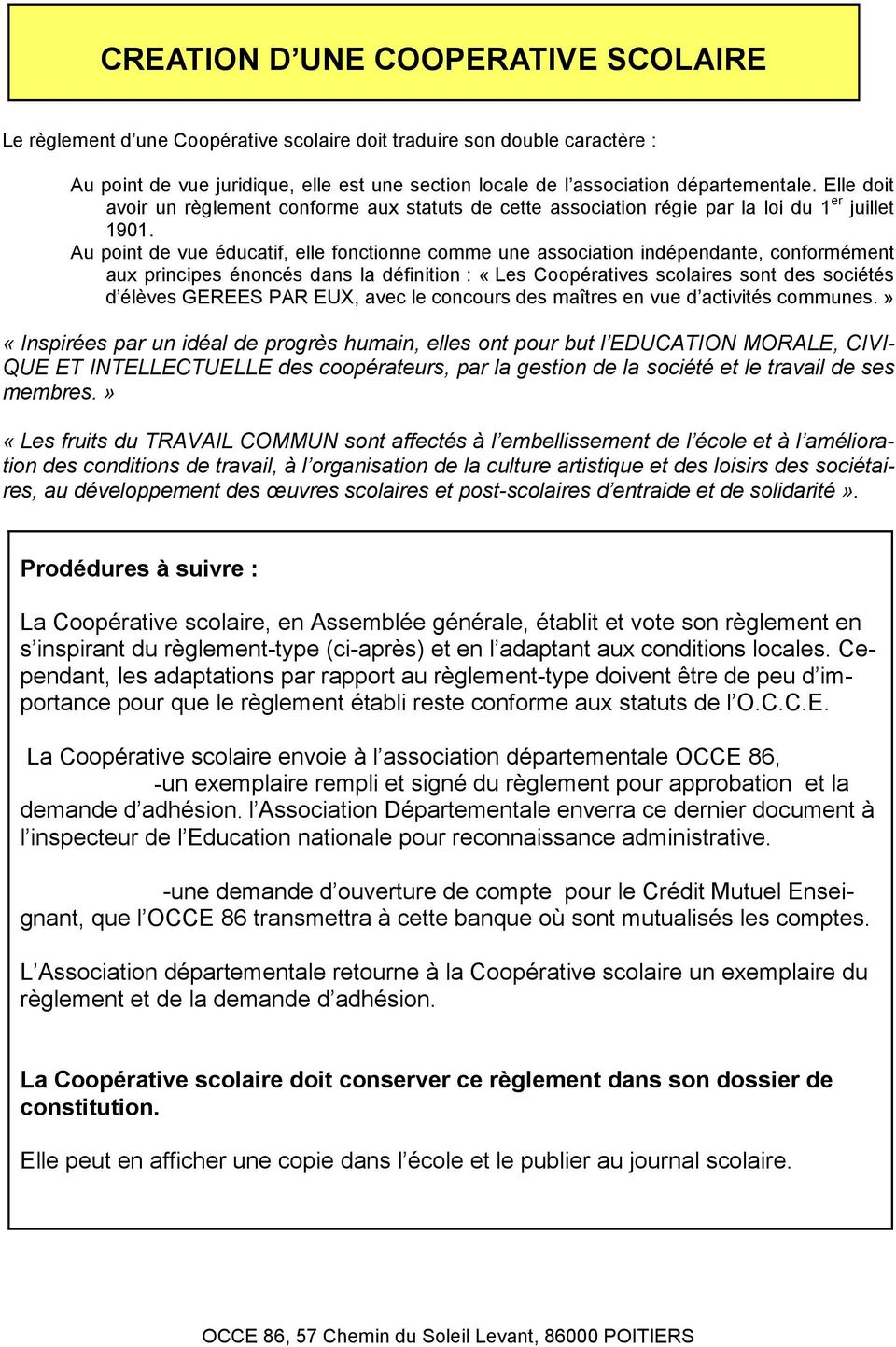Creation D Une Cooperative Scolaire Pdf