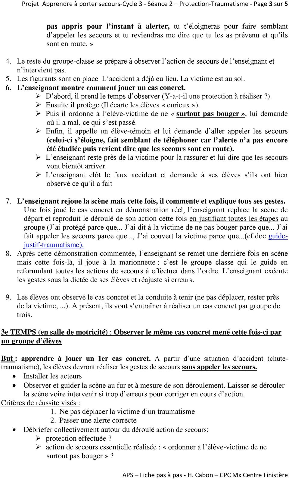 Projet apprendre porter secours cycle 3 s ance 2 protection traumatisme page 1 sur 5 pdf - Apprendre a porter secours cycle 3 ...