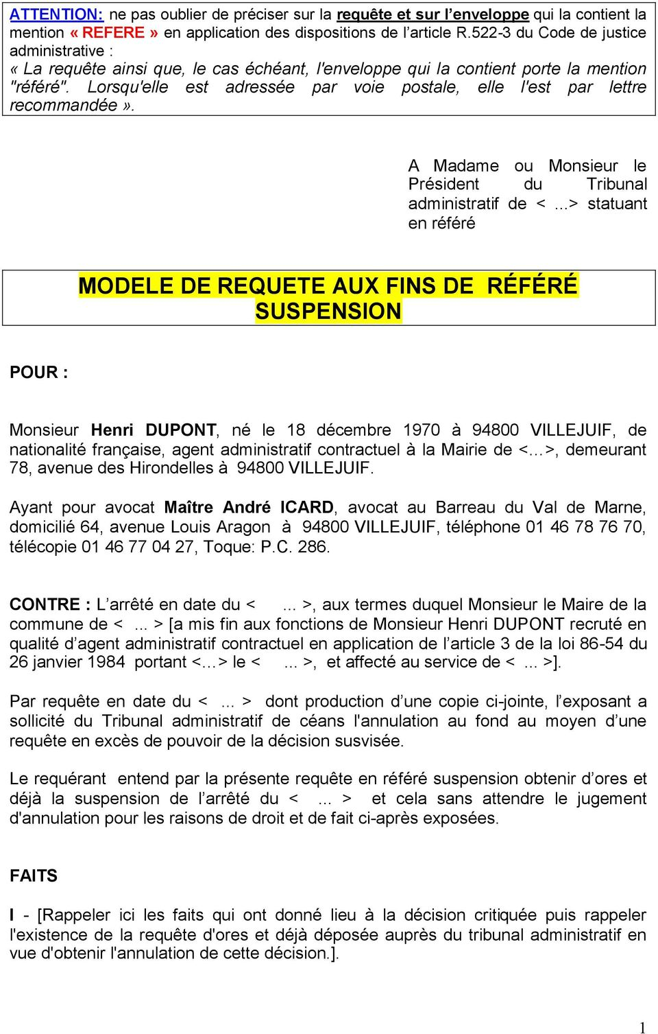 Modele De Requete Aux Fins De Refere Suspension Pdf Free Download
