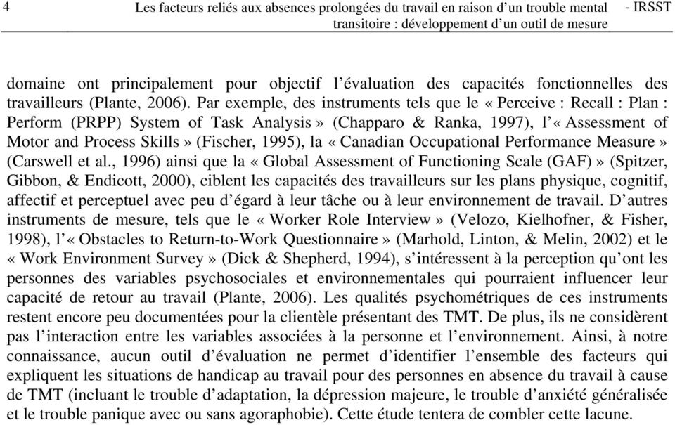 «Canadian Occupational Performance Measure» (Carswell et al.