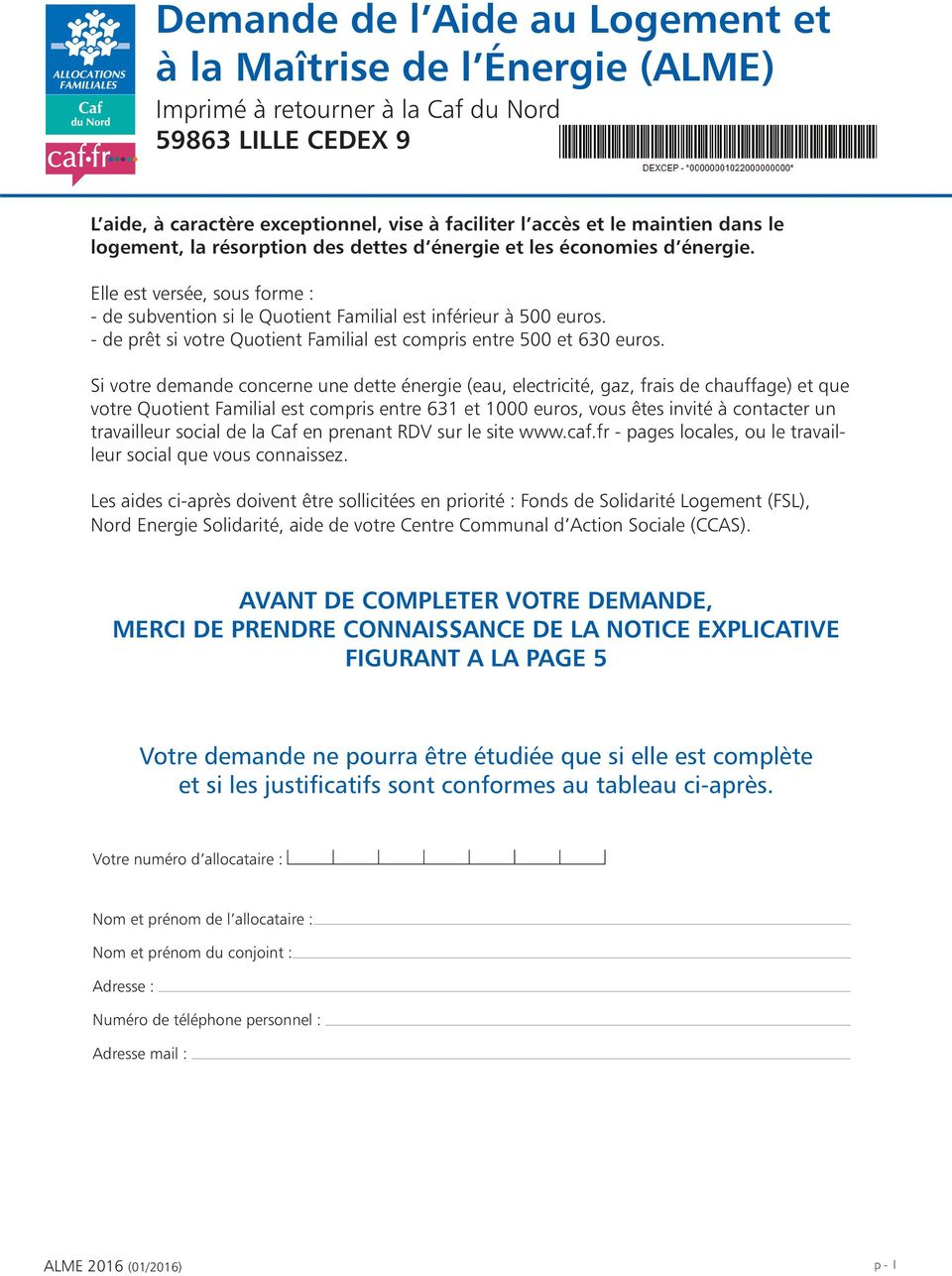 Mail Caf Aide Logement