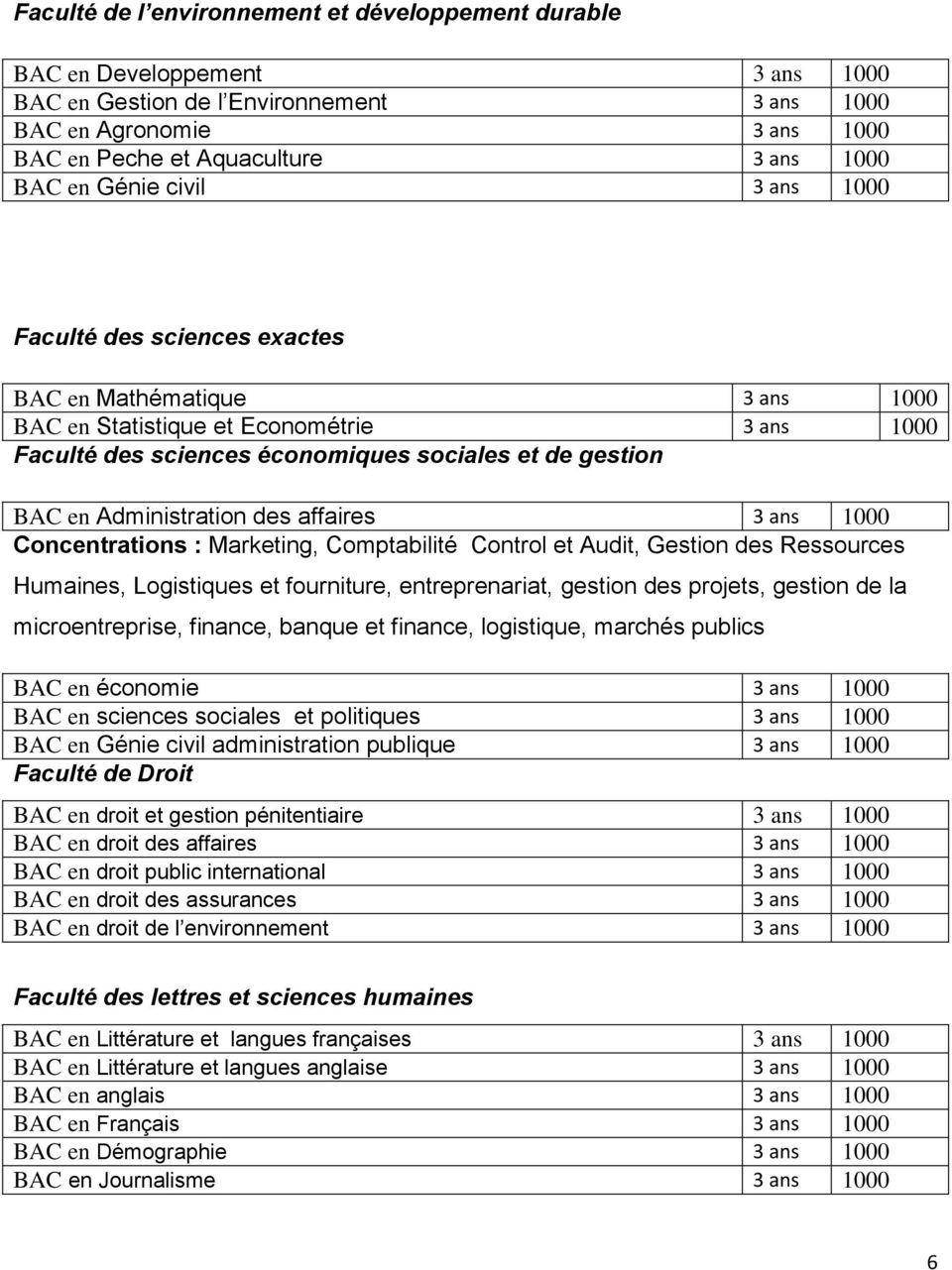Administration des affaires 3 ans 1000 Concentrations : Marketing, Comptabilité Control et Audit, Gestion des Ressources Humaines, Logistiques et fourniture, entreprenariat, gestion des projets,