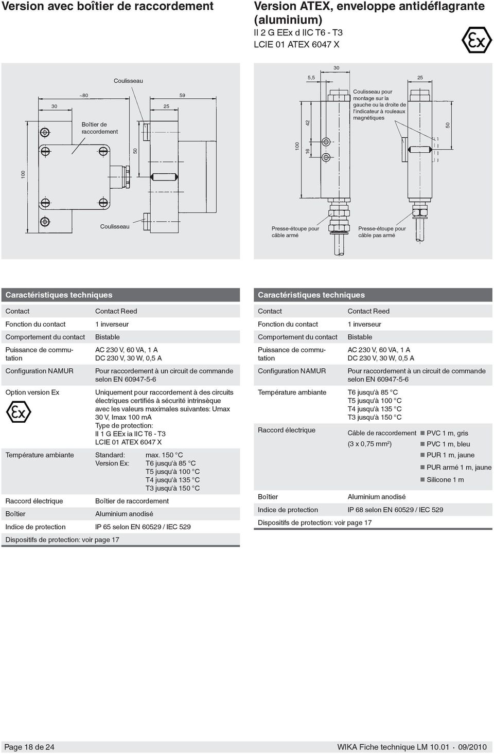Comportement du contact Puissance de commutation Configuration NAMUR Option version Ex Contact Reed 1 inverseur Bistable AC 230 V, 60 VA, 1 A DC 230 V, 30 W, 0,5 A Pour raccordement à un circuit de