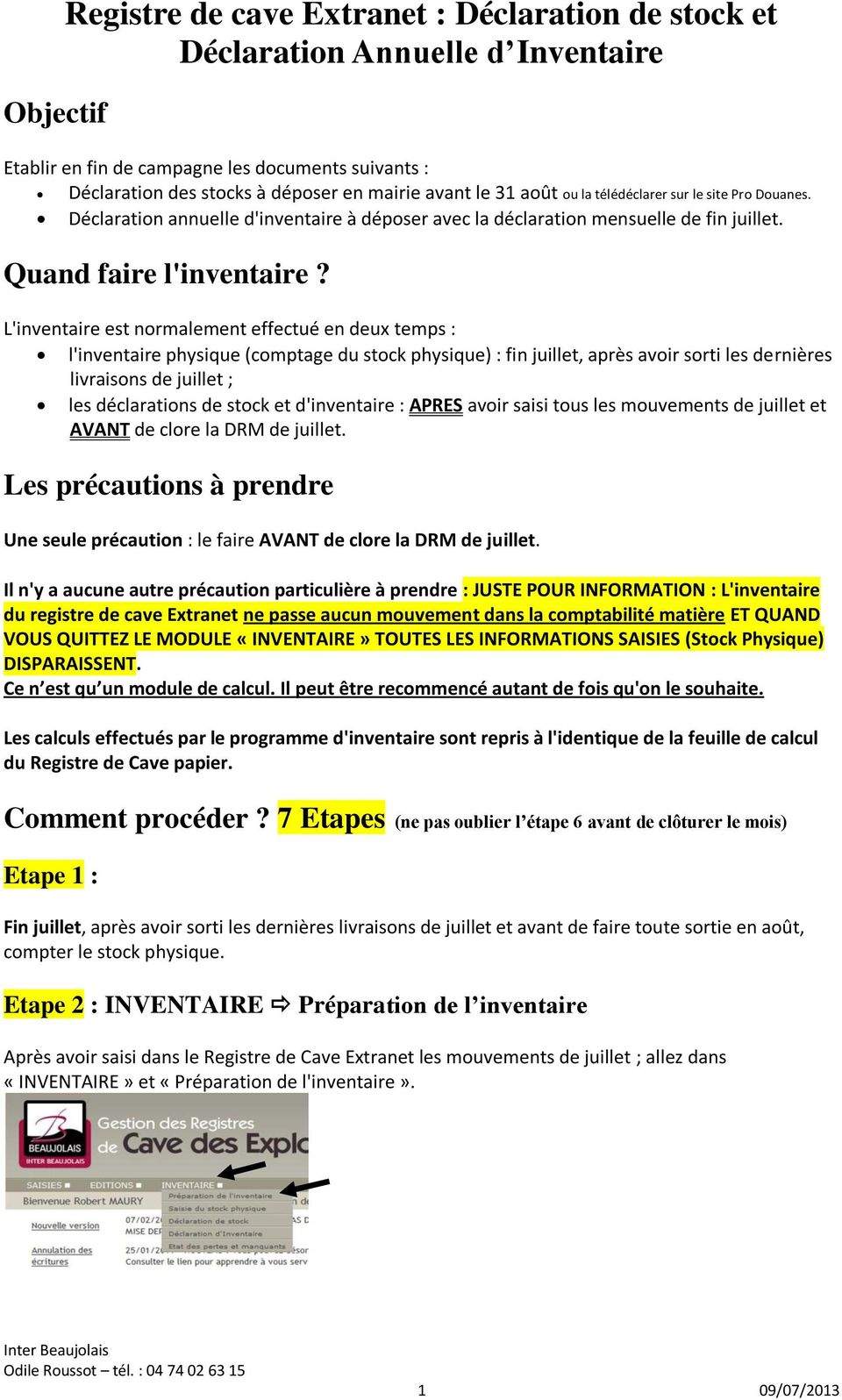 Registre De Cave Extranet Declaration De Stock Et Declaration