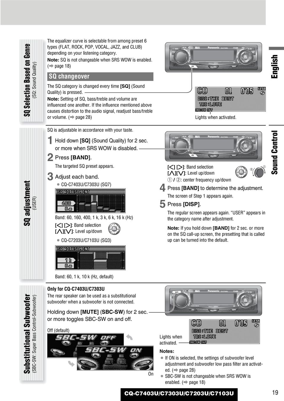 Panasonic Cq C7301u Wiring Diagram C7103u Library Note Setting Of Sq Bass Treble And Volume Are Influenced One Another