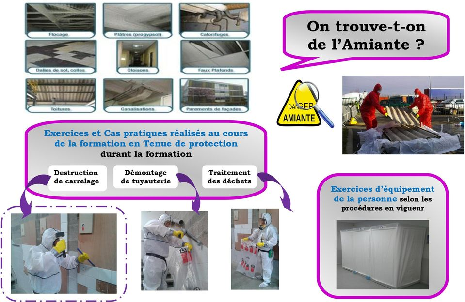 Tenue de protection durant la formation Destruction de carrelage