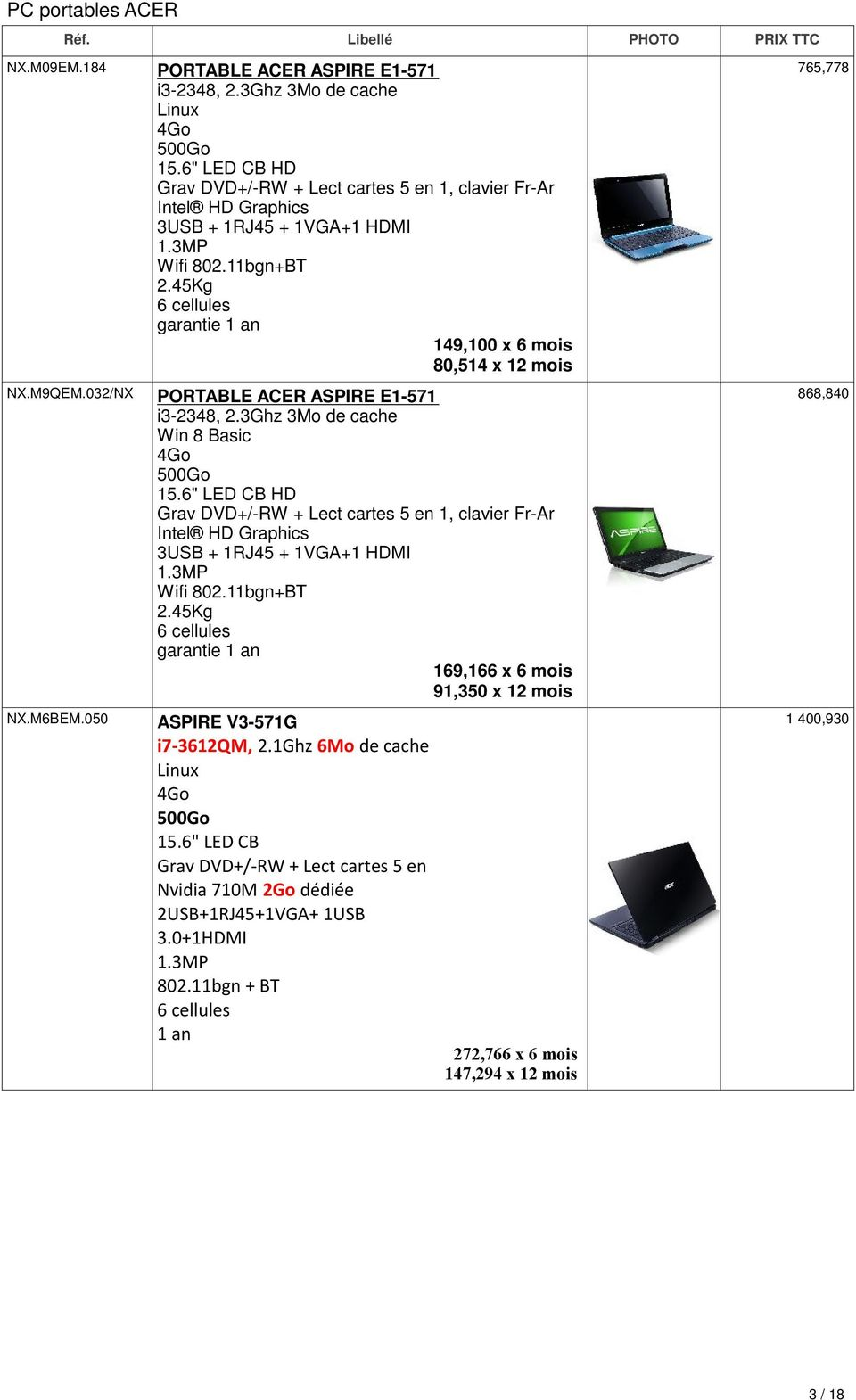 032/NX PORTABLE ACER ASPIRE E1-571 i3-2348, 2.3Ghz 3Mo de cache Win 8 Basic 4Go 500Go 15.