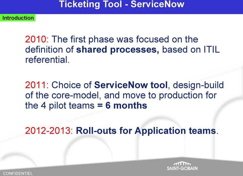 2011: Choice of ServiceNow tool, design-build of the core-model, and move to