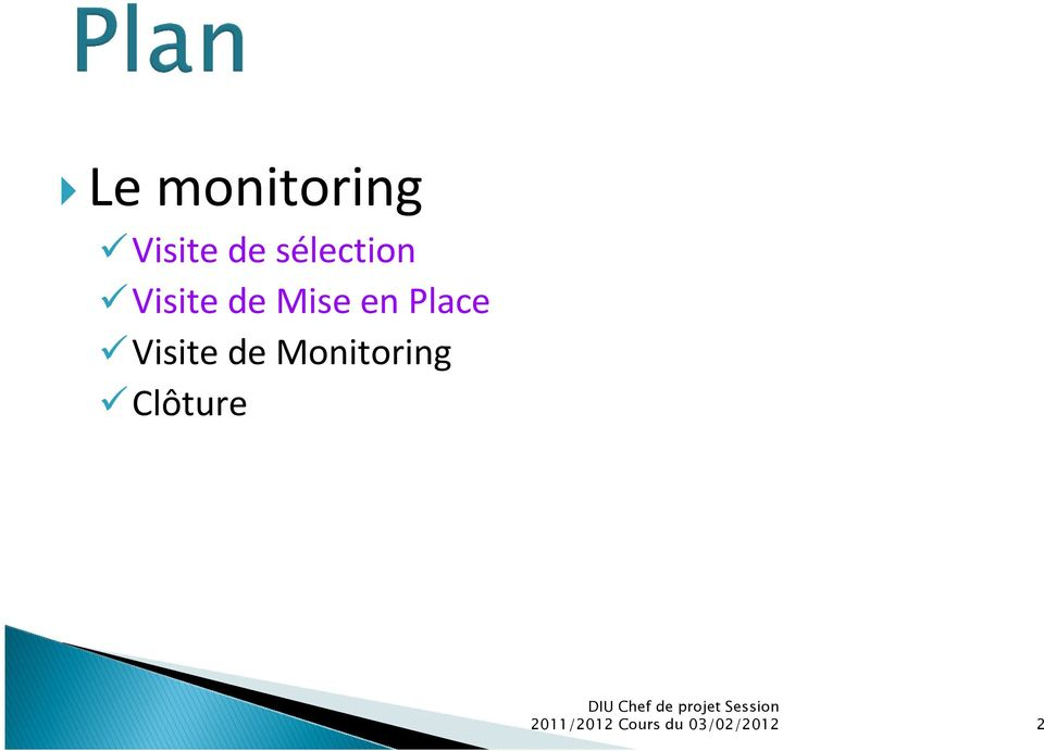 Place Visite de Monitoring