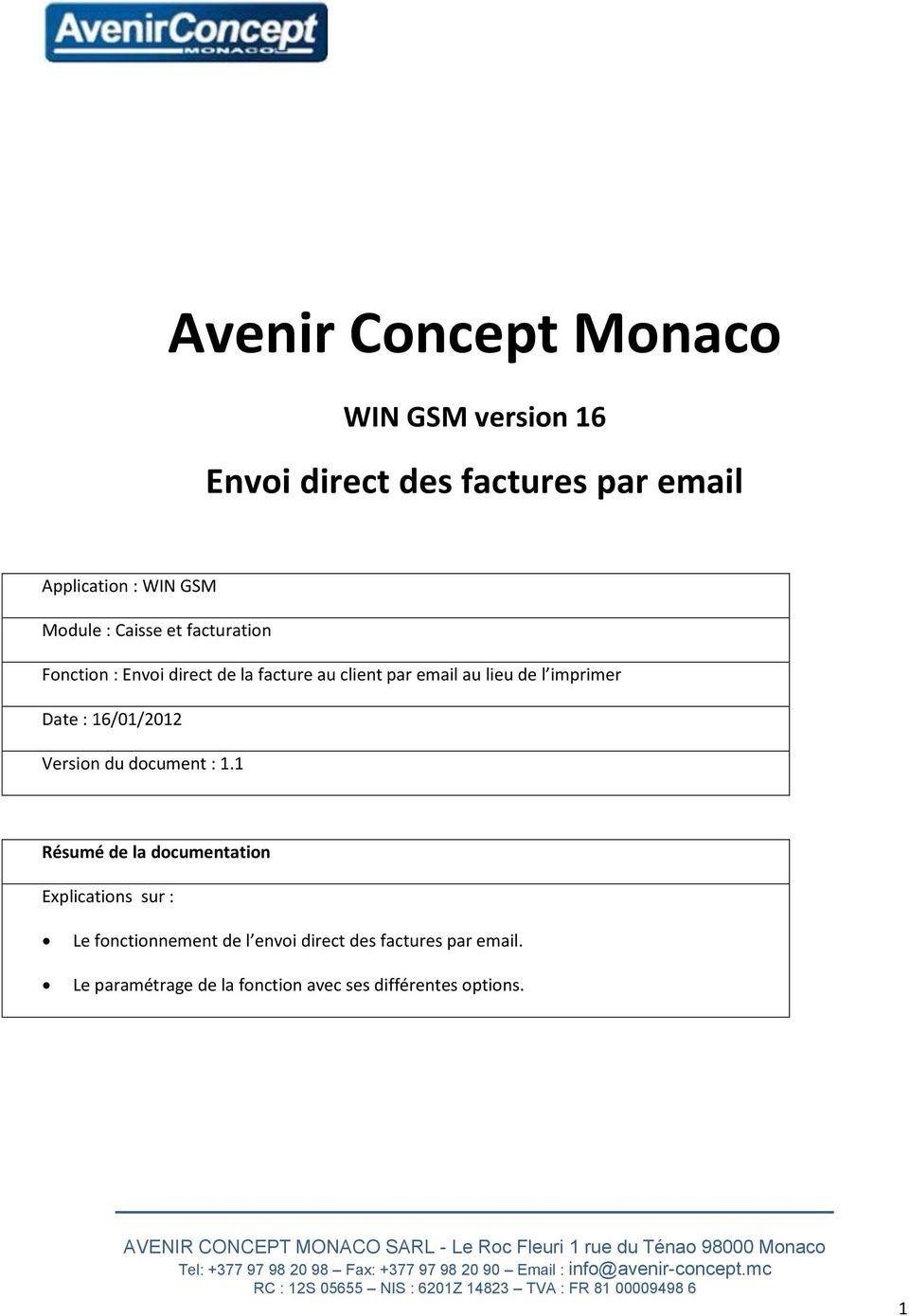 Date : 16/01/2012 Version du document : 1.