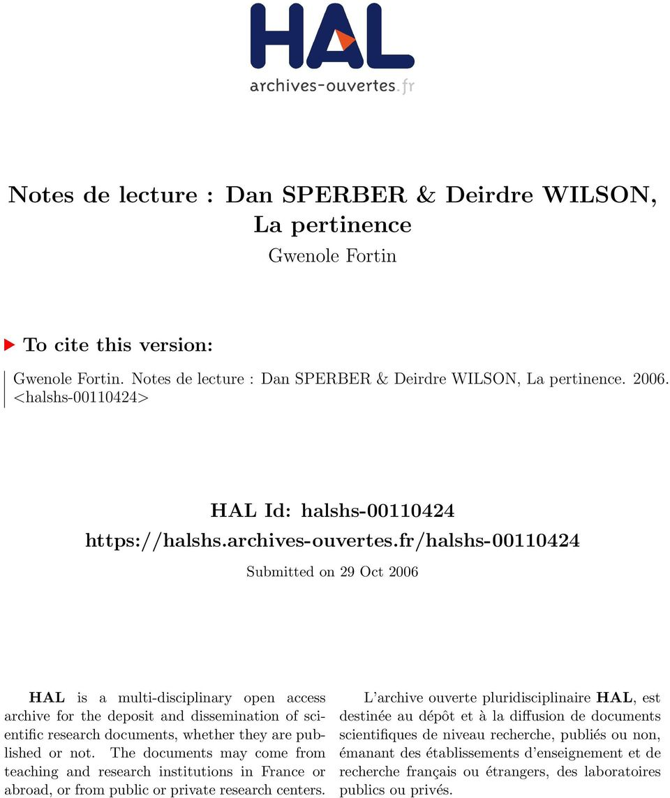 fr/halshs-00110424 Submitted on 29 Oct 2006 HAL is a multi-disciplinary open access archive for the deposit and dissemination of scientific research documents, whether they are published or not.