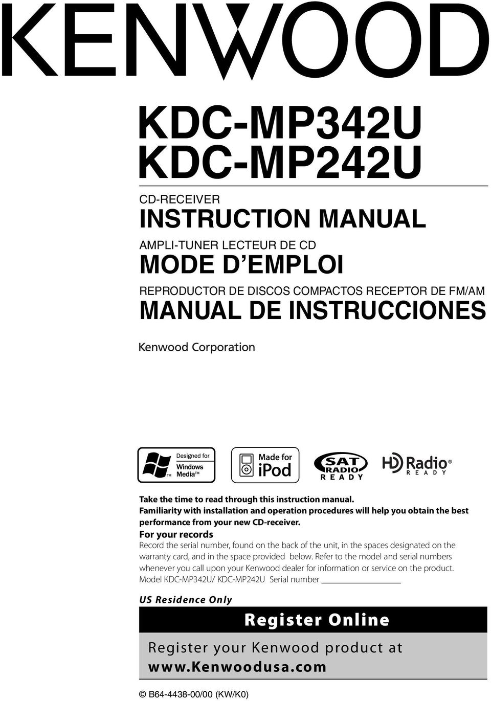 Kdc Mp342u Mp242u Pdf Kenwood X579 Wiring Harness For Your Records Record The Serial Number Found On Back Of Unit