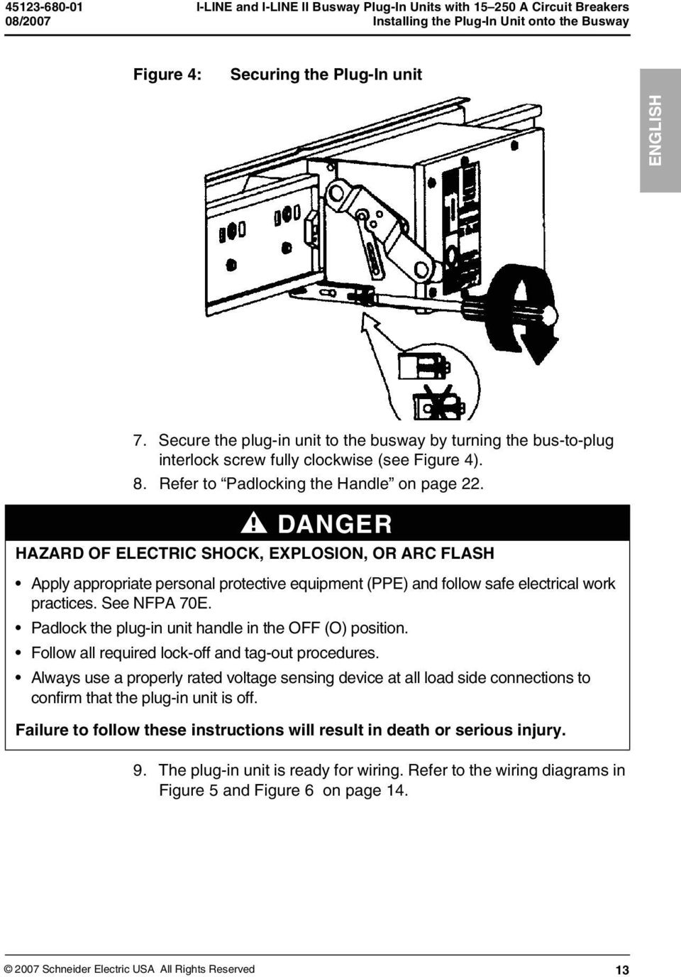 I Line And Ii Busway Plug In Units With A Circuit Breakers Electrical Bus Wiring Diagram Danger Hazard Of Electric Shock Explosion Or Arc Flash Apply Appropriate Personal Protective Equipment