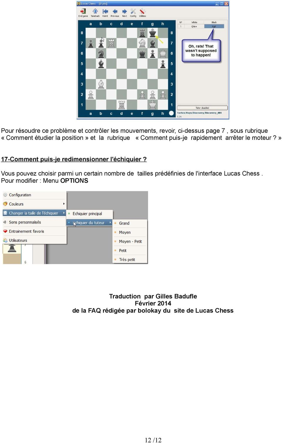 FAQ de LUCAS CHESS (traduction de la FAQ rédigée par bolokay - PDF