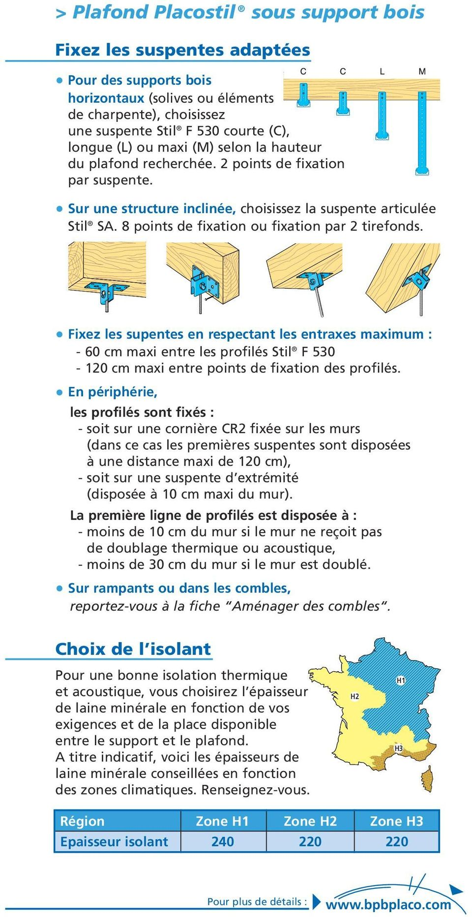 8 points de fixation ou fixation par 2 tirefonds. Fixez les supentes en respectant les entraxes maximum : - 60 cm maxi entre les profilés Stil F 530-120 cm maxi entre points de fixation des profilés.