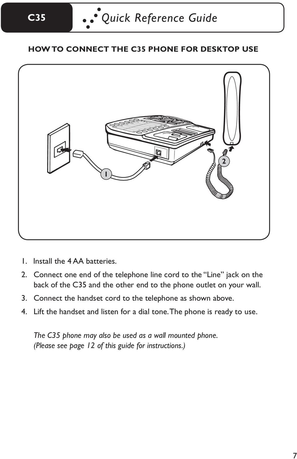 User Guide C35 Amplifi Ed Telephone I S P A O F R Pdf Wiring Diagram For Wall Mount Connect One End Of The Line Cord To Jack On Back