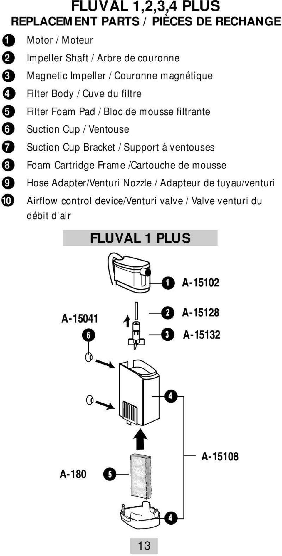 Cup Bracket / Support à ventouses 8 Foam Cartridge Frame /Cartouche de mousse 9 Hose Adapter/Venturi Nozzle / Adapteur de